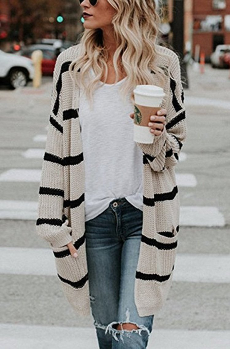 Fashion Casual Midi Striped Knitted Cardigan