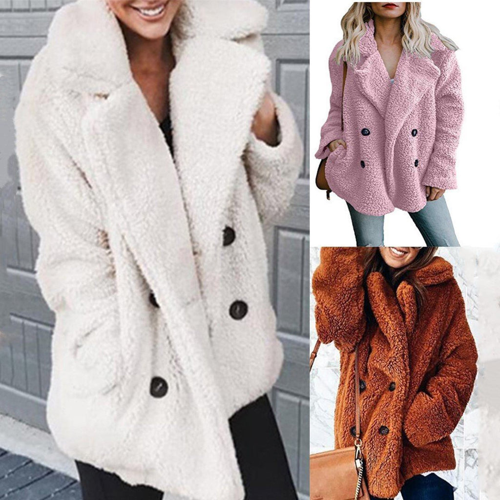 Winter Warm Fur Coat Quilted Long Sleeve Woolen Coat