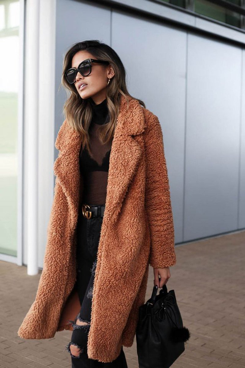 Winter warm Long Sleeve Coats Teddy Bear Brown Buttoned Cashmere Coats