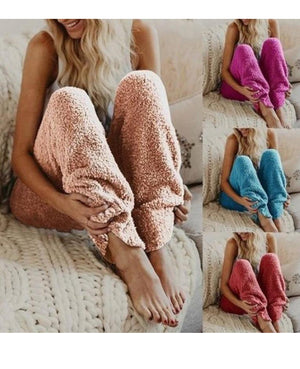 Sweet Home Style Warm Pant Soft Casual Plain Home Pants