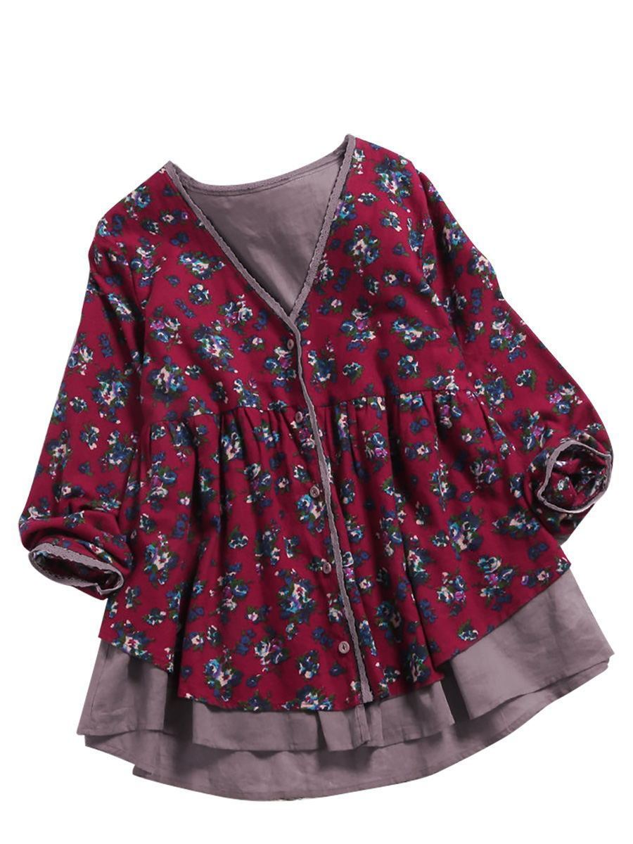 Cotton Linen V-neck Double Fake Two Pieces of Floral Plus Size Lace Cardigan