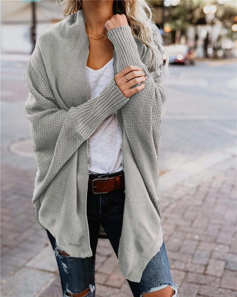Bat Sleeve Large Size Long Knitted  Sweater Cardigan
