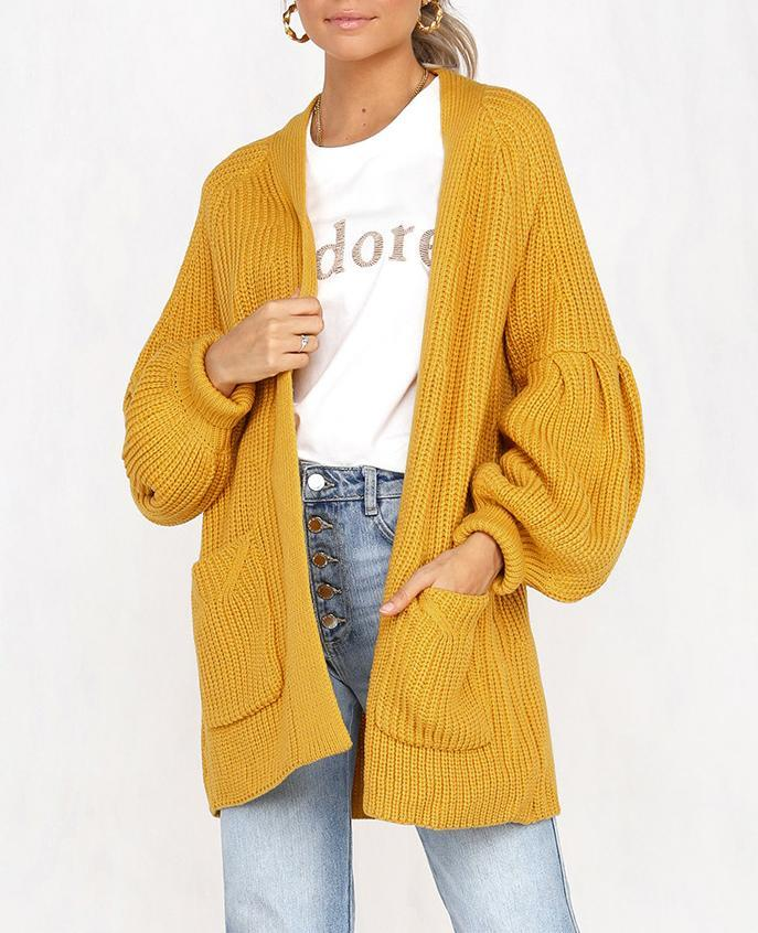 Bloomer Sleeve Solid Pocket Cardigan Sweater Coat