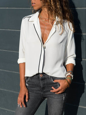 Lapel Plain Chiffon Elegant Simple & Basic Paneled Shirts