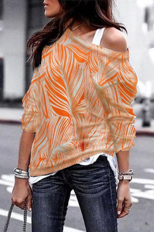 Geometric Floral Print Off-the-shoulder Sexy Shirt
