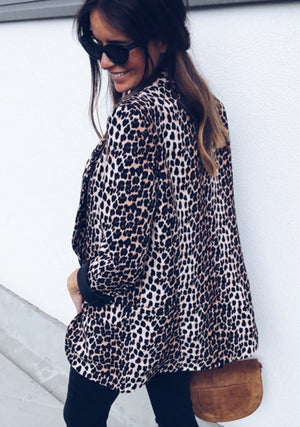 Fashionable Women Sexy Snake-print Leopard Long-sleeved Jacket Coat