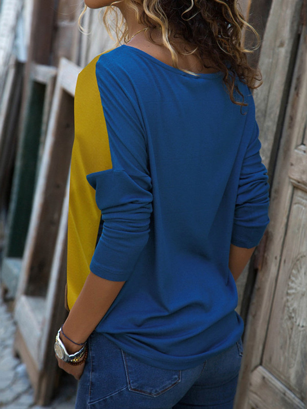 Casual Color-block Long Sleeve Blouse Patchwork Casual T-Shirts