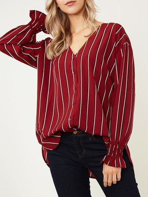 Wine Red&White Striped Deep V-neck Long Sleeved Women Chiffon Shirt