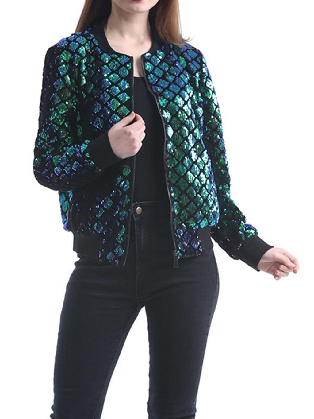 Bright Sequins Green Sequin Long Sleeve Round Neck Casual Jacket Coat