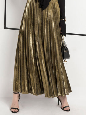 High Waisted Swing Golden Metallic Midi Skirt