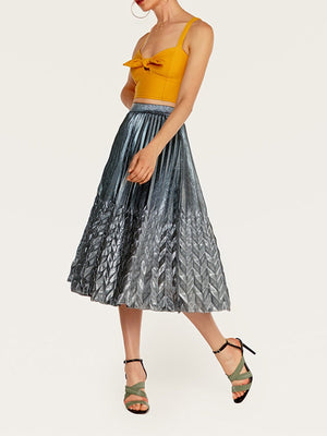 Fashion Golden Pleated Fish End Swing Beach Midi Skirt