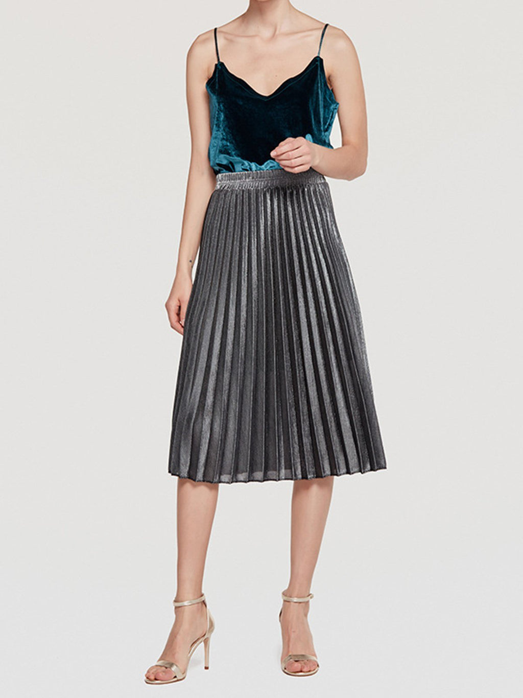 Sliver High Waist A-line Swing Beach Midi Pleated Skirt
