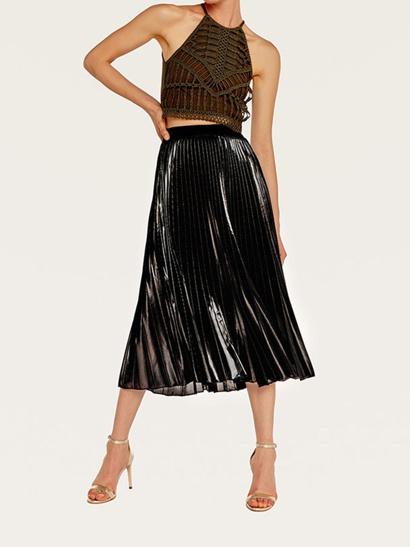 Women Maxi Lined High Waist Swing Skirt