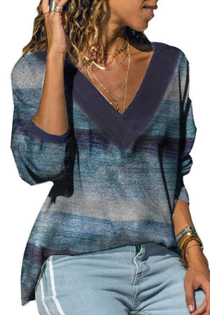 Sexy Casual A/W Long Sleeve Rainbow Wave Striped Print V Neck Knit Blouse