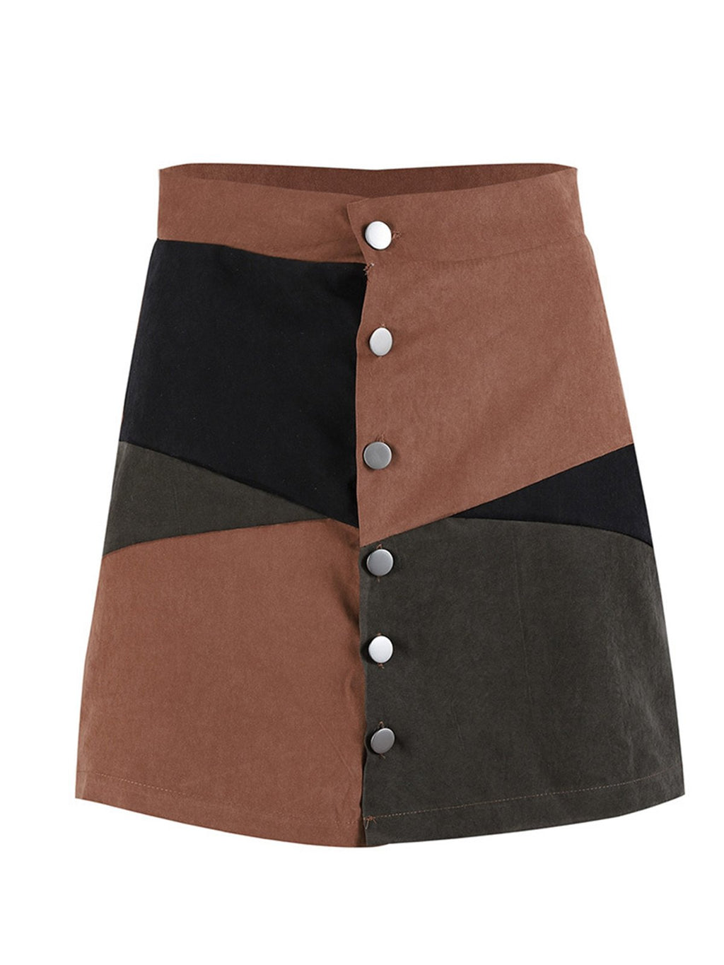Vintage Style Women Skirts Suede Color Block Mini A-Line Skirt
