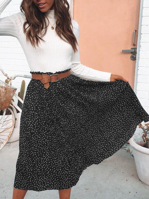 Chic Lady Vintage Polka Dot Skirts Women Gathering Swing Midi Skirt