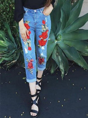 Classic Stylish Embroidery Pants Elastic Loosen Jeans