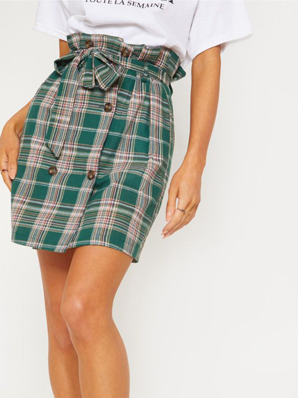 Vintage Green Plaid A-line Belted Skirt