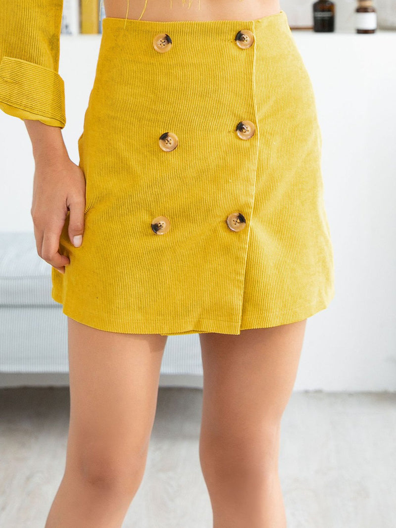 Yellow Corduory  Double-Breast Button A-line Mini Skirt