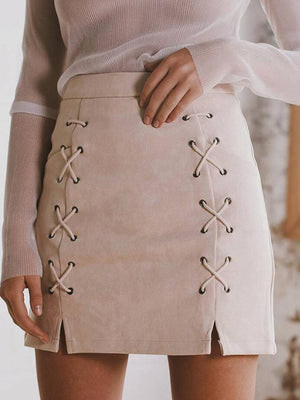 Winter Suede String-tied Mini Skirt