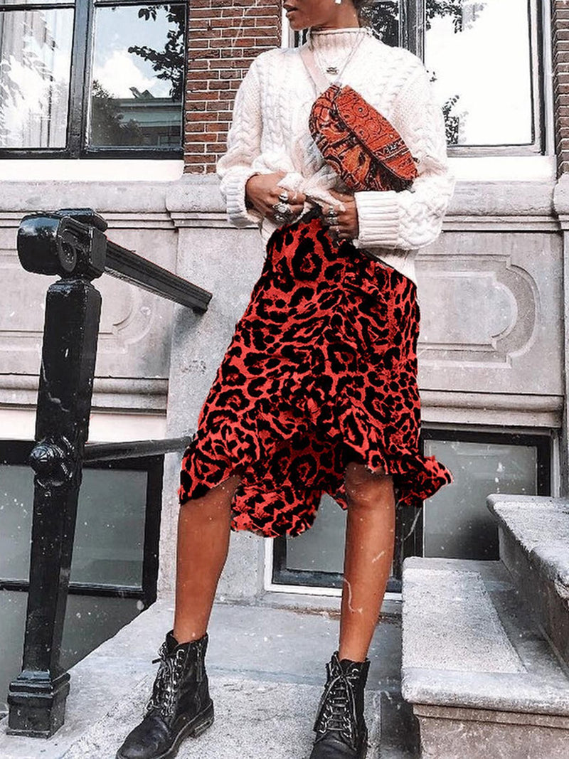 Casual Women Red Leopard Print Midi Skirt