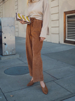 Brown Corduory Draw-string Women Culottes Pants