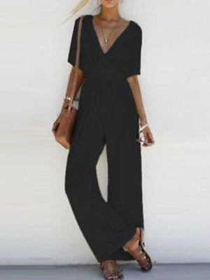 V Neck Half Sleeve Solid Rompers High Rise Jumpsuits