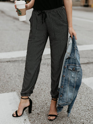 Vintage Polka Dot Small Cuff Lace-up Pants