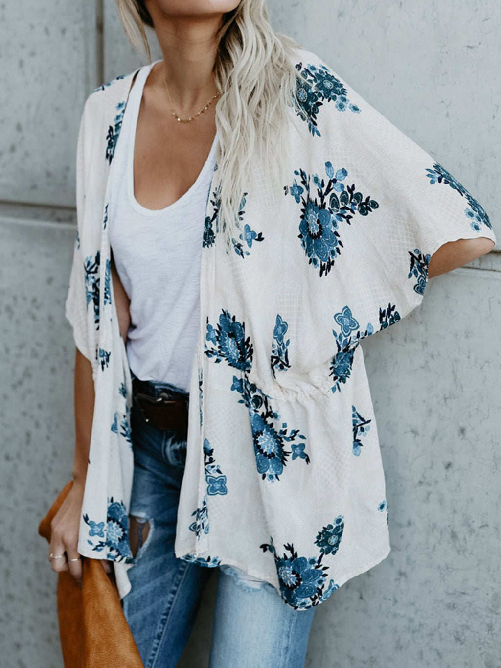 Batwing Sleeve Blue Floral Gathering Waist Cardigan