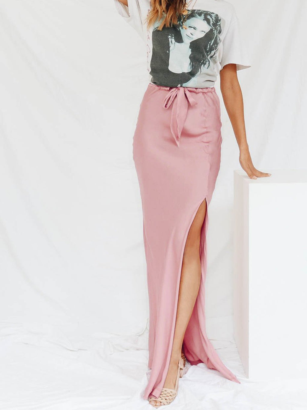 Spring/Summer Maxi Skirt Sexy Slit Solid Skirts