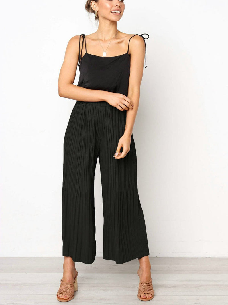 Solid Casual Women Trousers Pleat Wide Leg Casual Pants