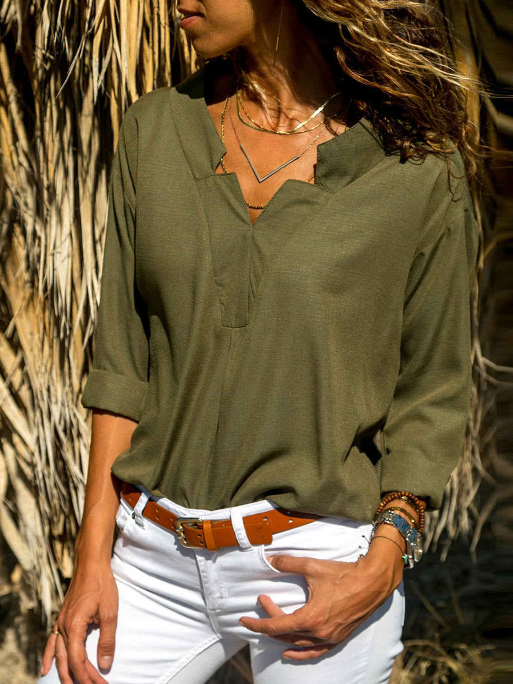 V Neck Long Sleeve Women White Solid Shirt