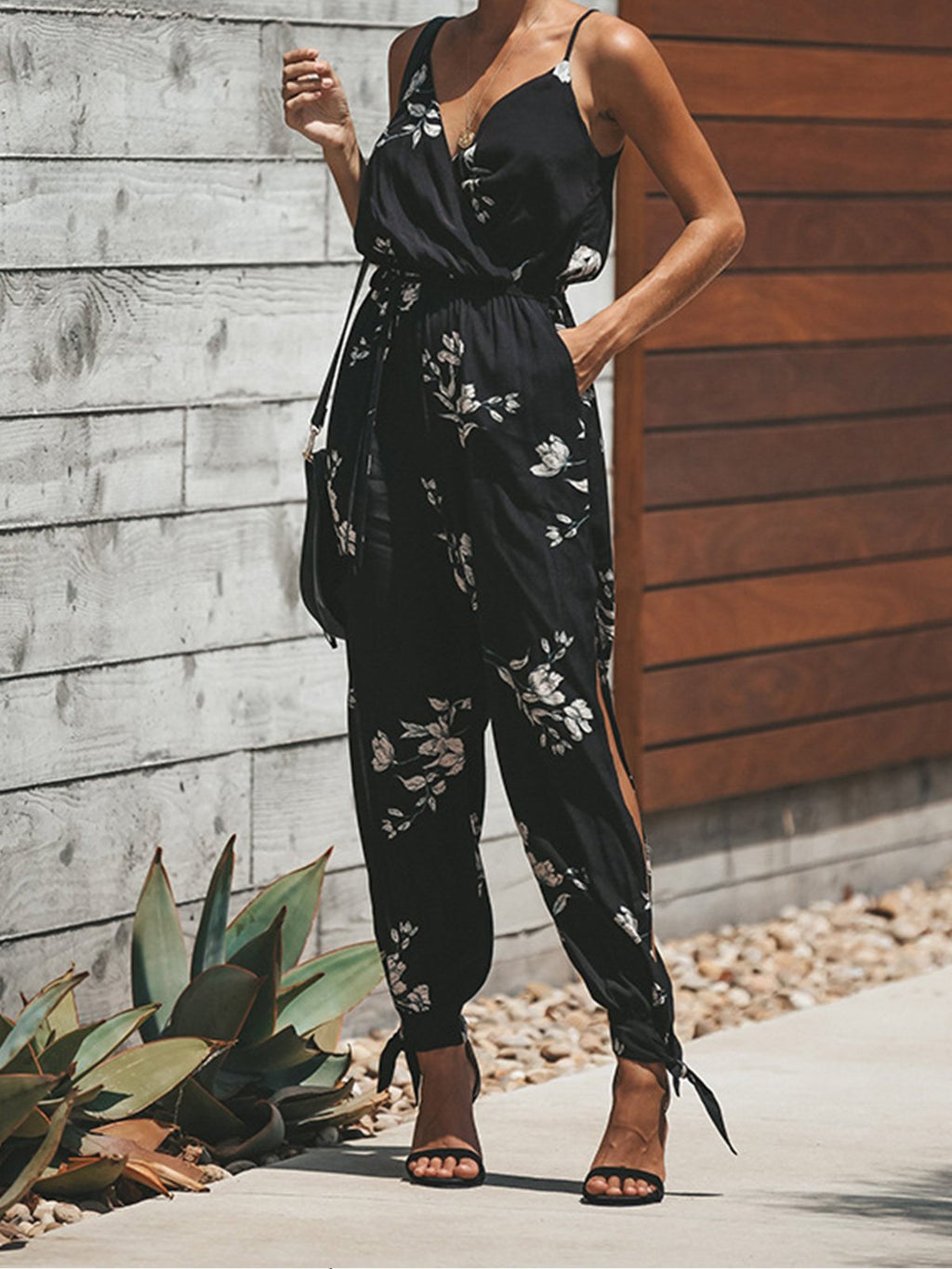 Floral Print Backless String Spaghetti Strap V Neck Women Jumpsuits