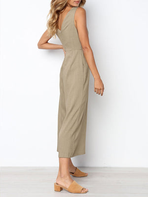 V Neck Backless Women Jumpsuits
