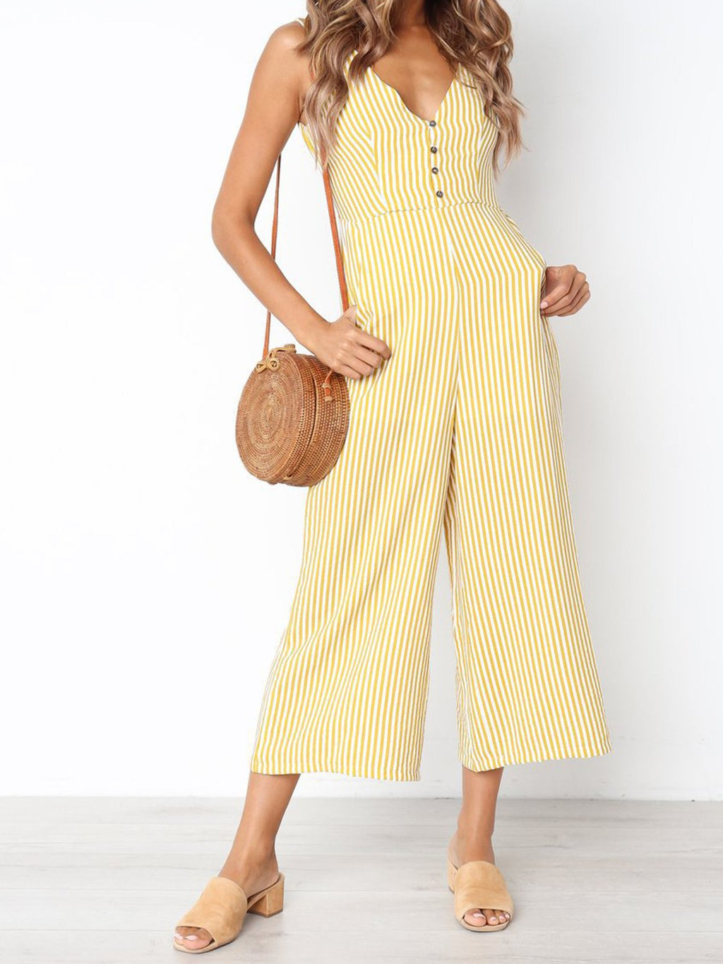 Striped Print V Neck Women Jumpsuits
