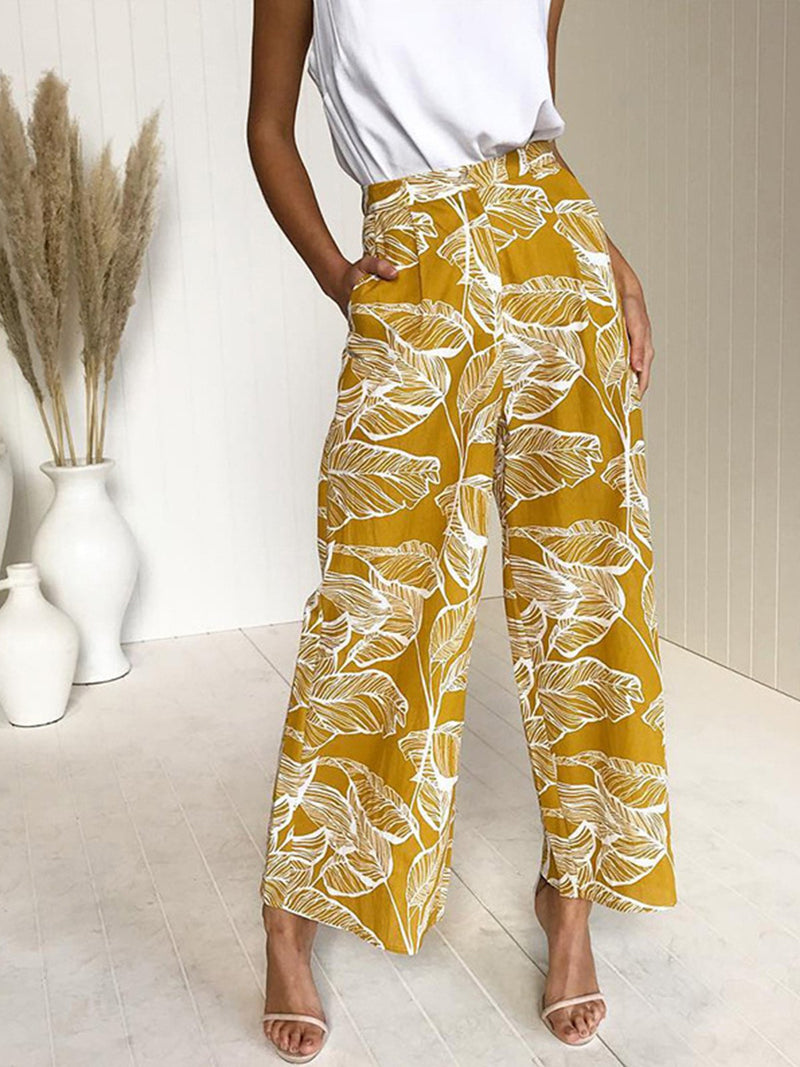 Leaf Print High Waist Women Wide Leg Pants