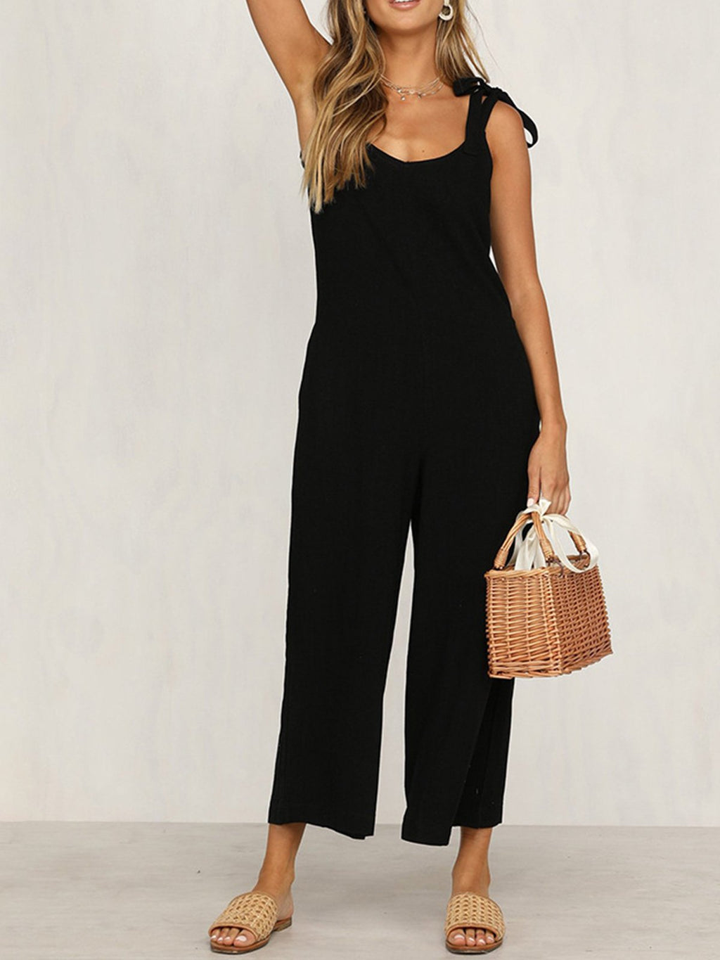 Fashion Summer Lace-up Loose Jumpsuits