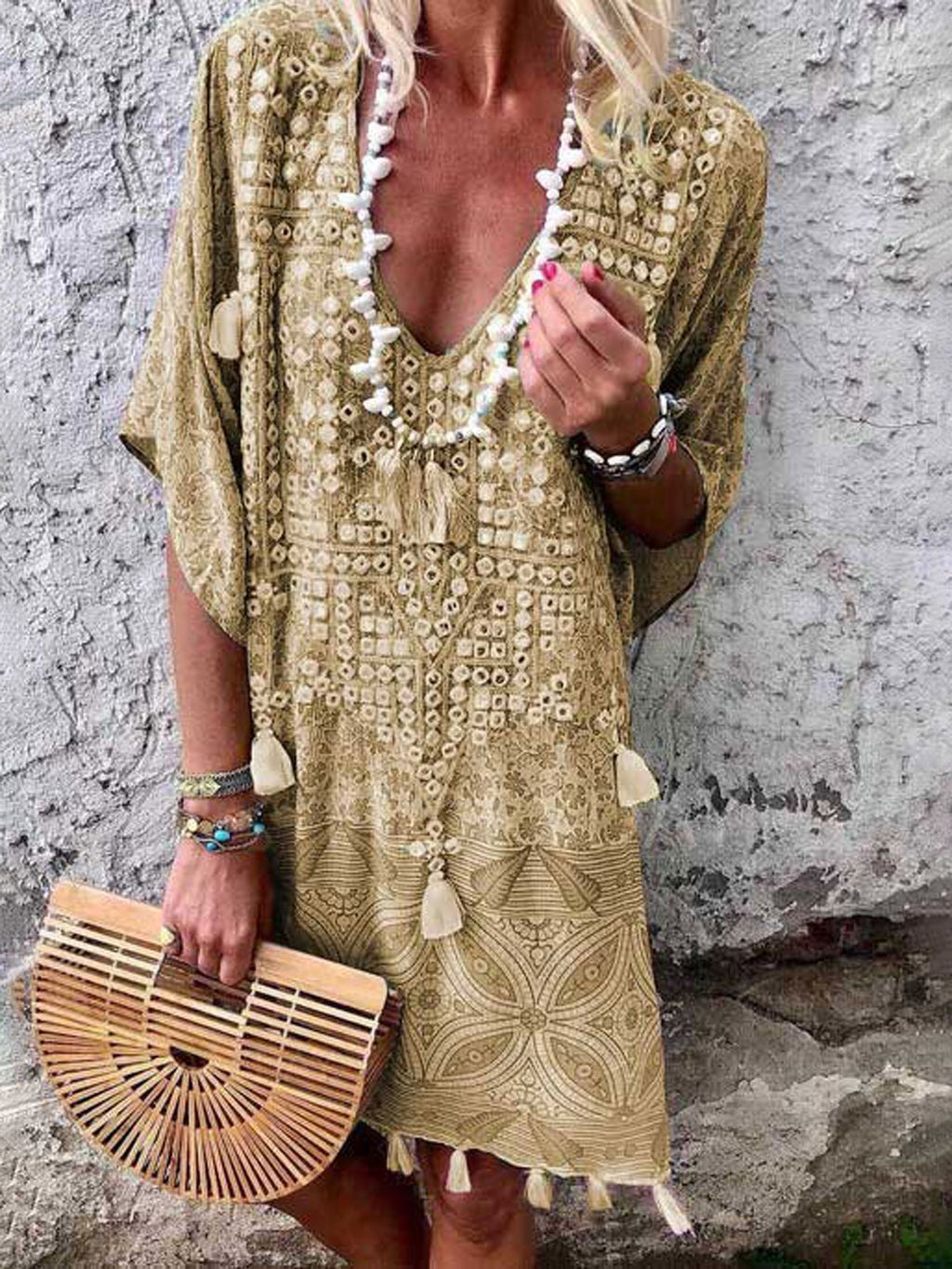Summer Holiday Vacation Dresses Half Sleeve Bohemia Dress