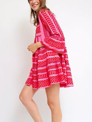 Women V neck Swing Bell Sleeve Printed Tribal Summer Dress