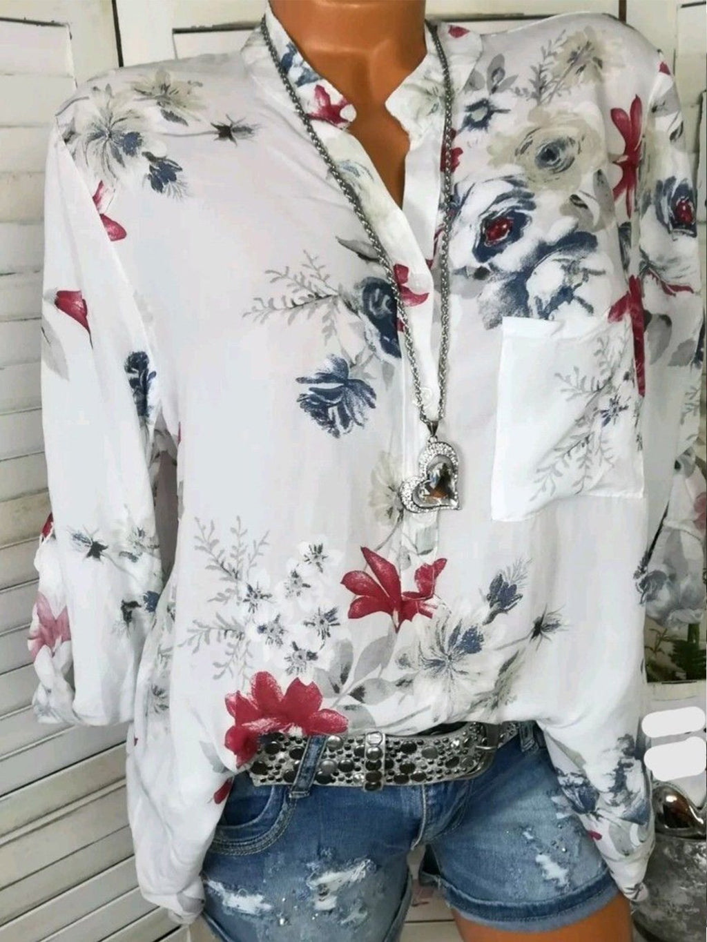 Long Sleeve Buttons Pockets Plus Size Floral V Neck Shirt