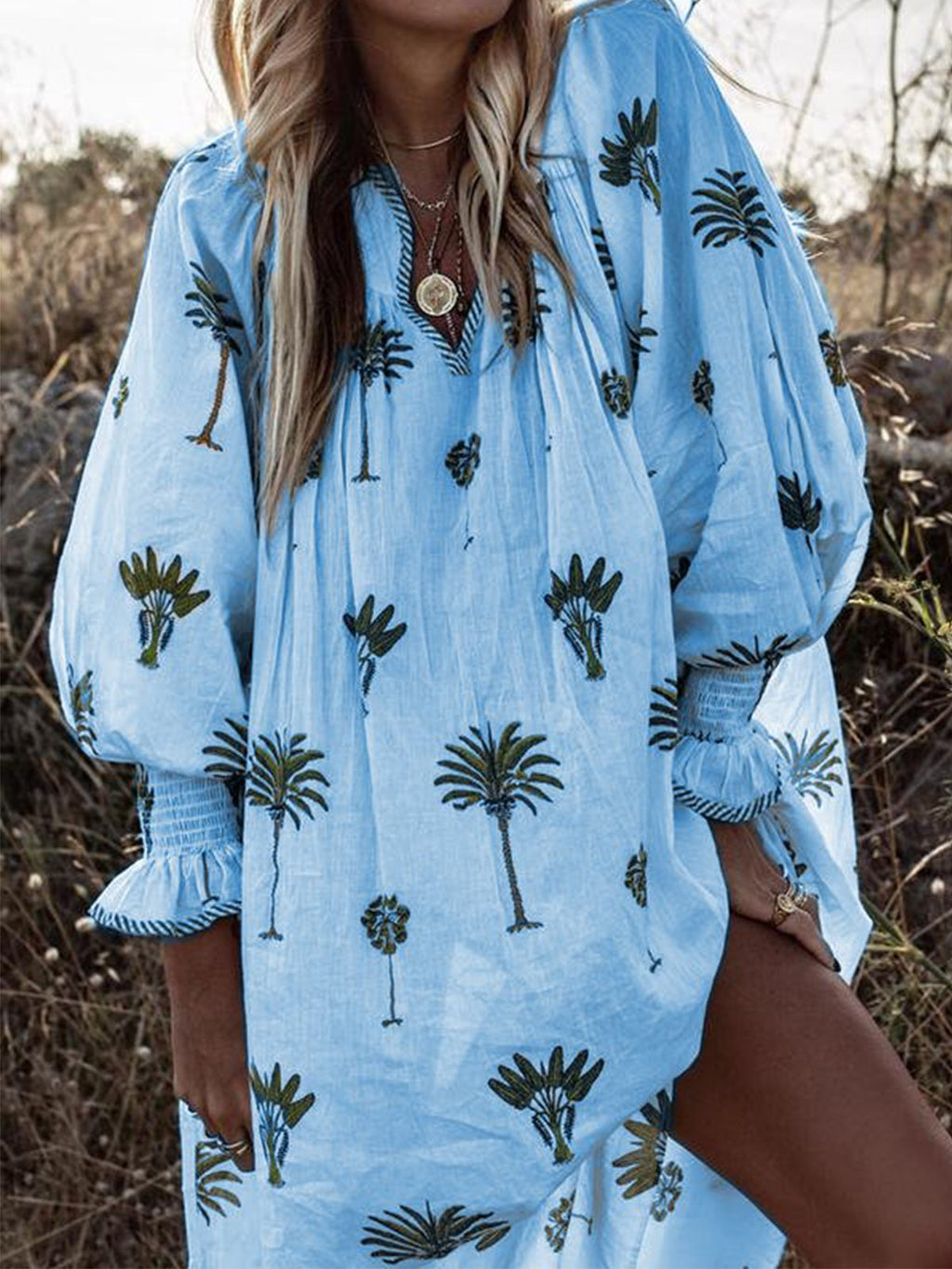 Coconut Palm Print V Neck Long Sleeve Loose Midi Dress