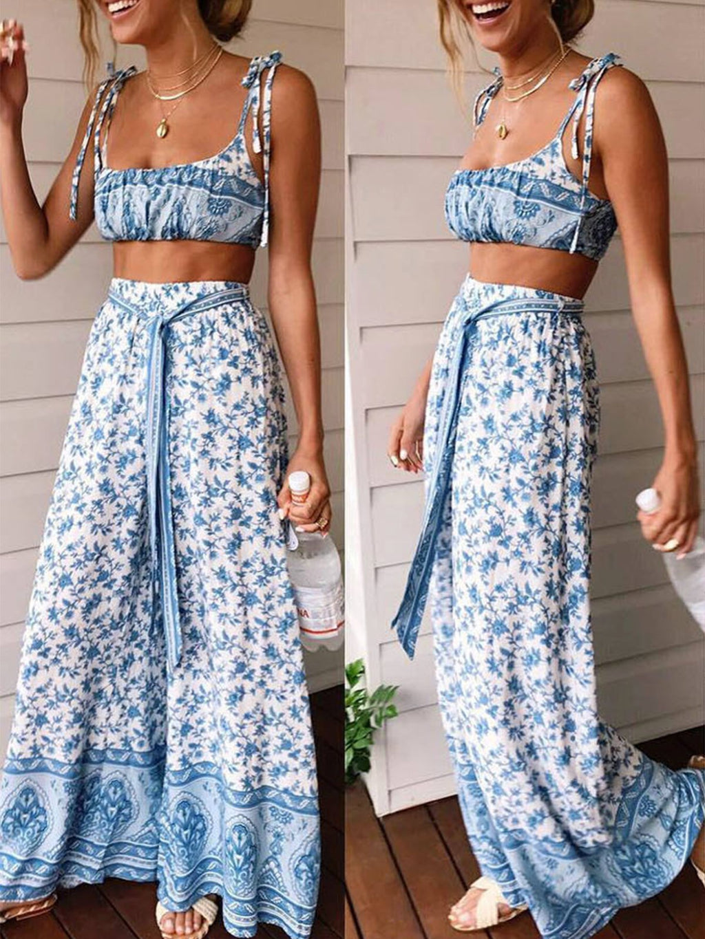 Floral Spaghetti Strap Tank Top&Wide Leg Pants Two Piece Set