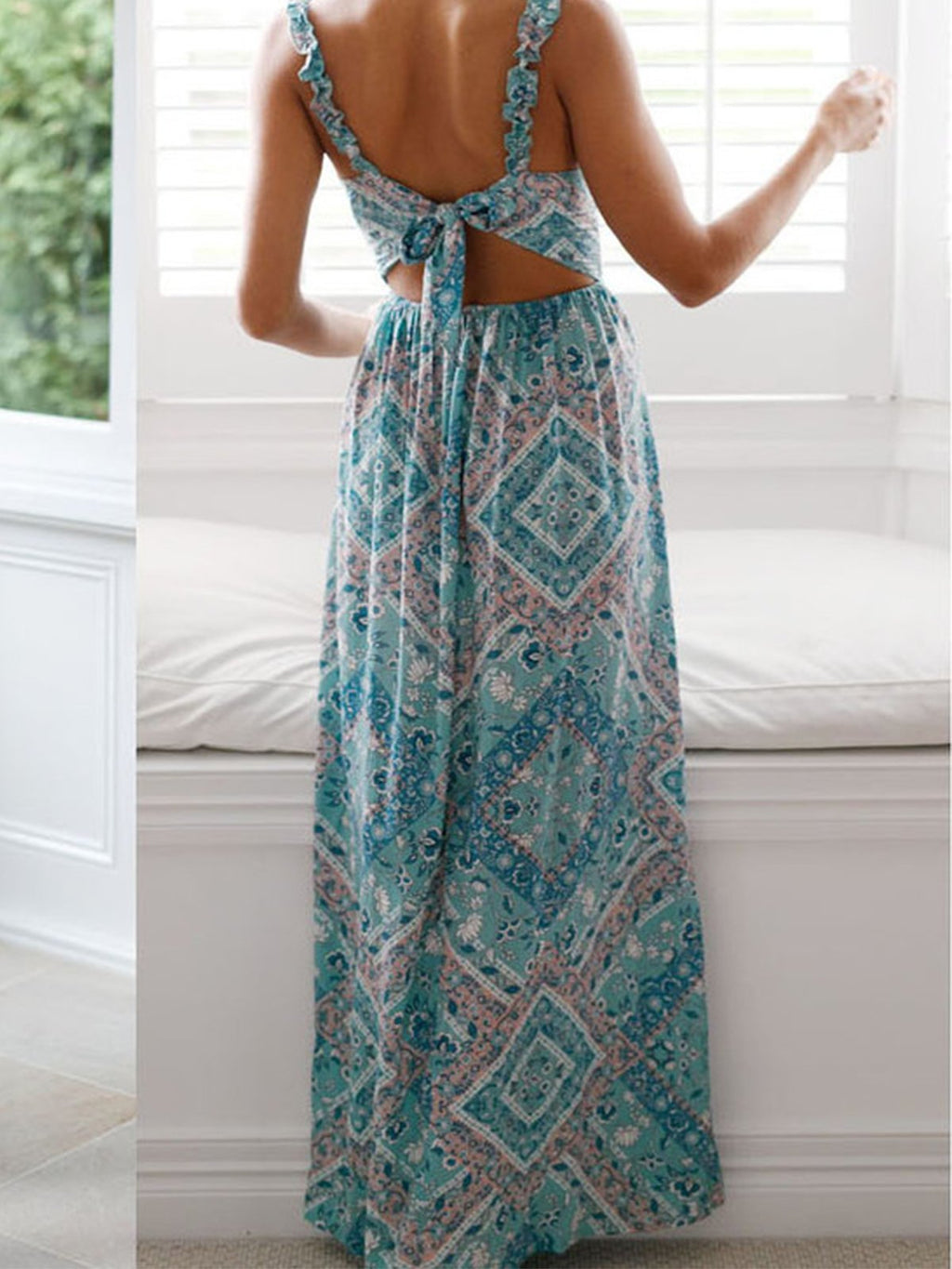 Blue Floral V Neck Spaghetti Strap Slit Maxi Dress
