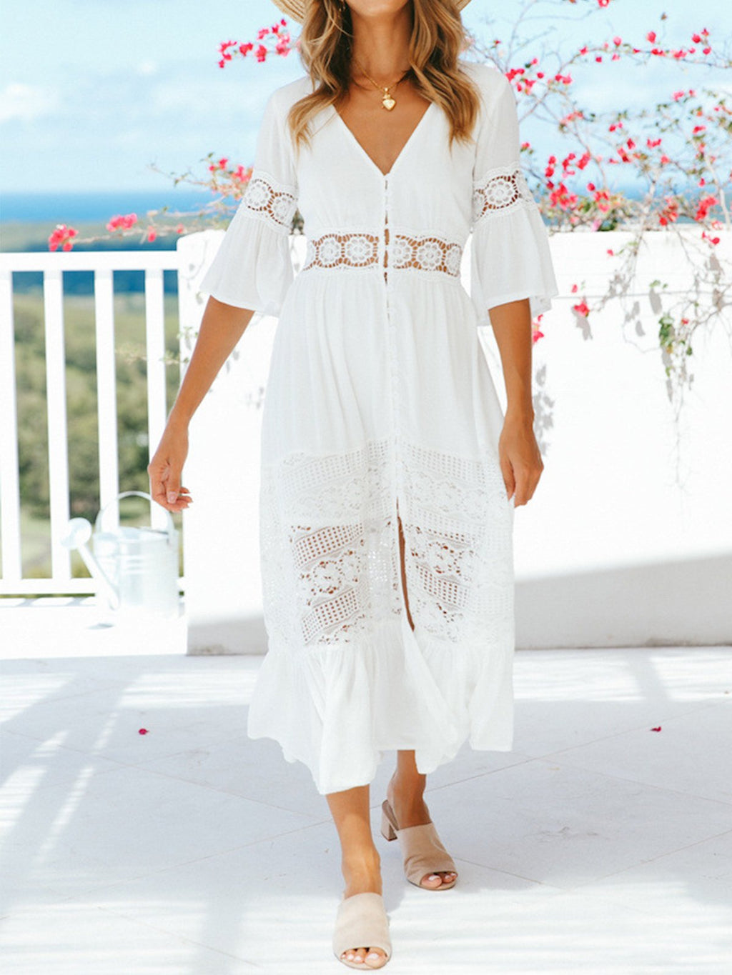 White Lace V Neck Half Sleeve Slit Midi Dress