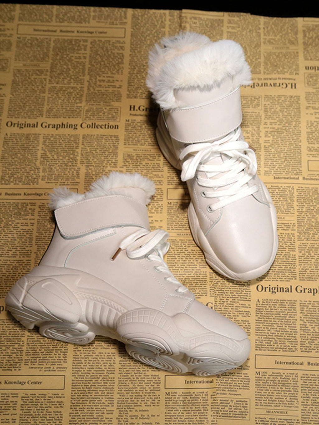White Winter Plus Velvet Women Boots