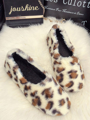 Leopard Print Shoes Plush Flat Warm Moccasin Ommino