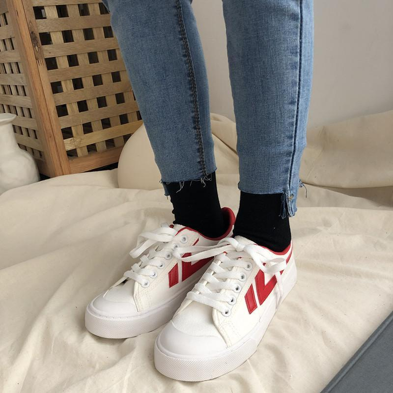 Contrast Fashion Canvas White Shoes