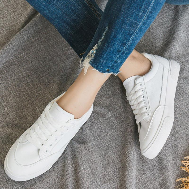 Artificial Leather Flat Shoes Basic Sneakers