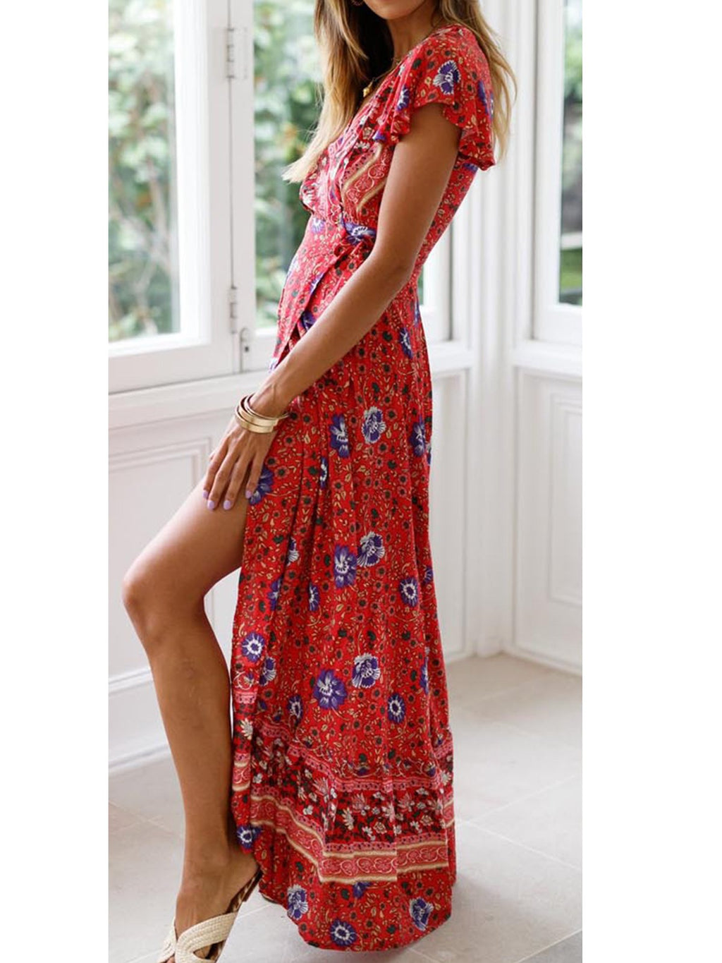 Floral V Neck Short Sleeve Sexy Slit Maxi Dress