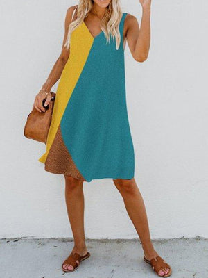 V Neck Sleeveless Plus Size Midi Color-block Dress